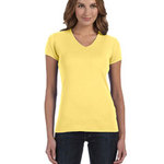 Ladies' Stretch Rib Short-Sleeve V-Neck T-Shirt