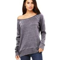 Ladies' Sponge Fleece Wide Neck Sweatshirt Thumbnail