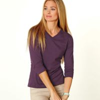 LA T Ladies' Combed Ring-Spun Jersey V-Neck 3/4-Sleeve T-Shirt Thumbnail