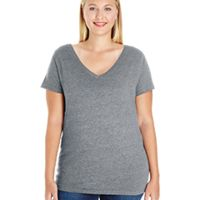 Ladies' Curvy V-Neck Premium Jersey T-Shirt Thumbnail