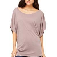 Ladies' Flowy Draped Sleeve Dolman T-Shirt Thumbnail