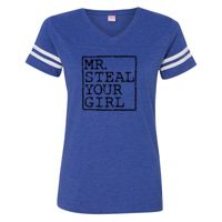 Women's Football V-Neck Fine Jersey T-Shirt Thumbnail